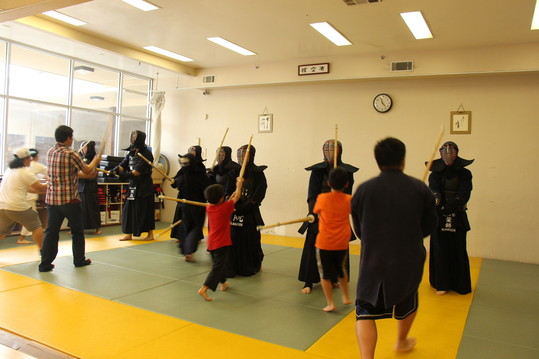 Kendo practice with bogu